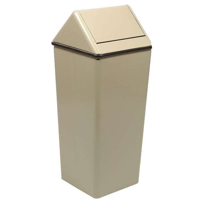 Witt 1311HTAL 13-gal Indoor Decorative Trash Can - Metal, Almond