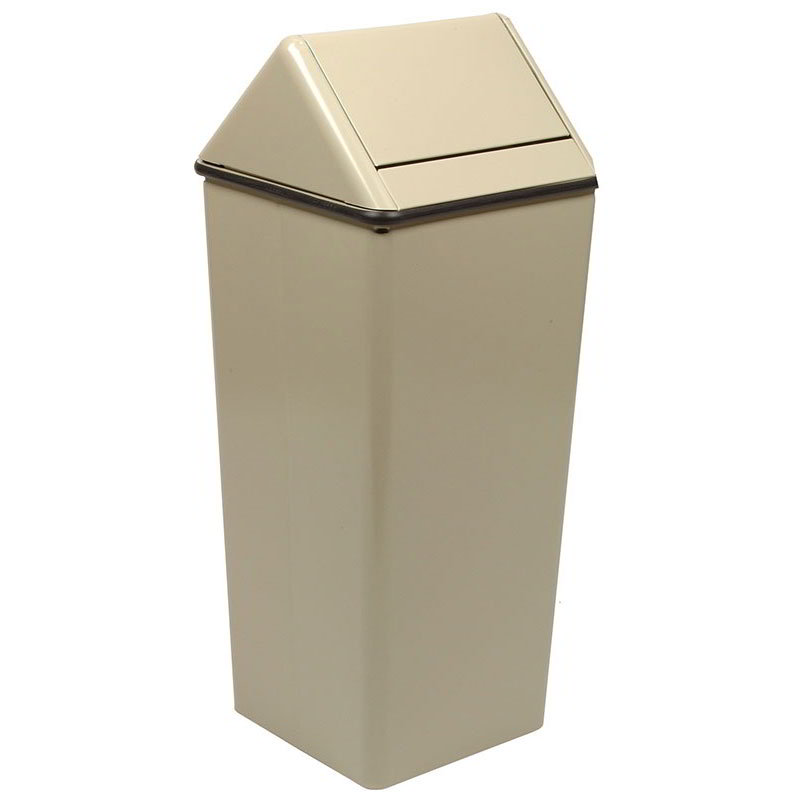 Witt 1411HTAL 21-gal Indoor Decorative Trash Can - Metal, Almond
