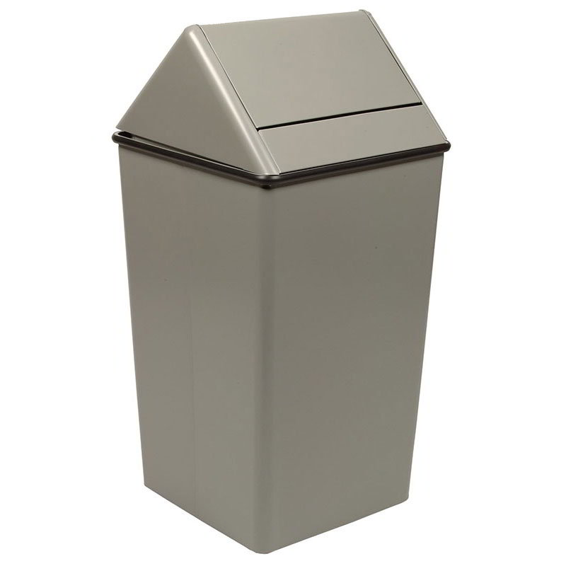 Witt 1411HTSL 21-Gallon Indoor Trash Can w/ Square Hamper & Swing Top, Slate