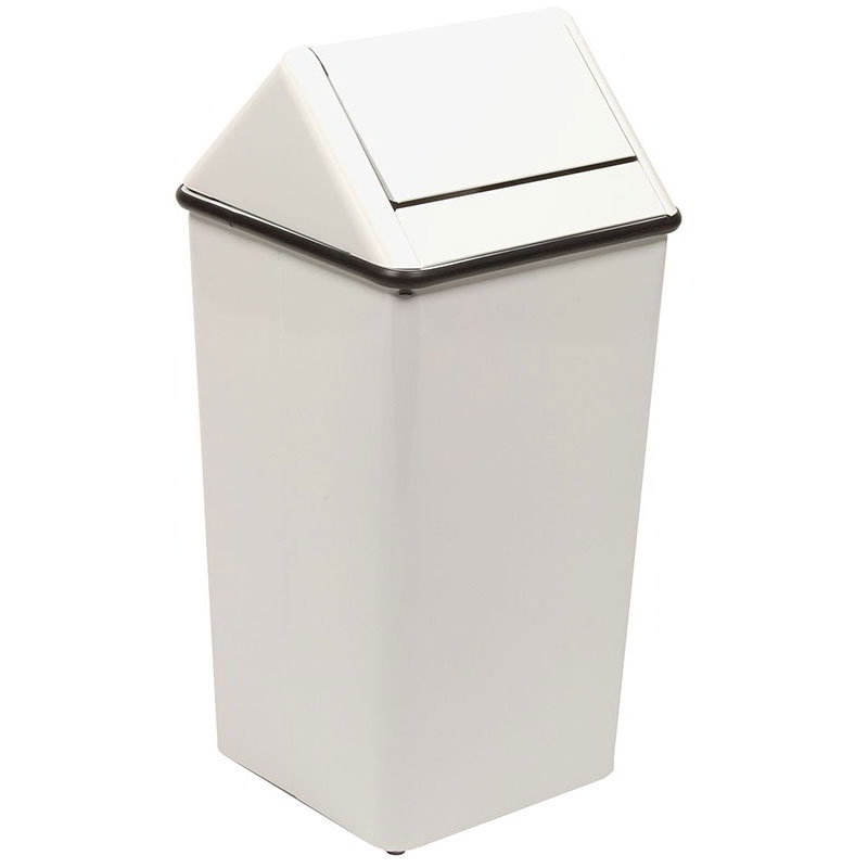 Witt 1411HTWH 21-Gallon Indoor Trash Can w/ Square Hamper & Swing Top, White
