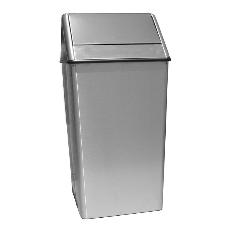 Witt 1511HTSS 36-Gallon Indoor Trash Can w/ Square Hamper & Swing Top, Stainless