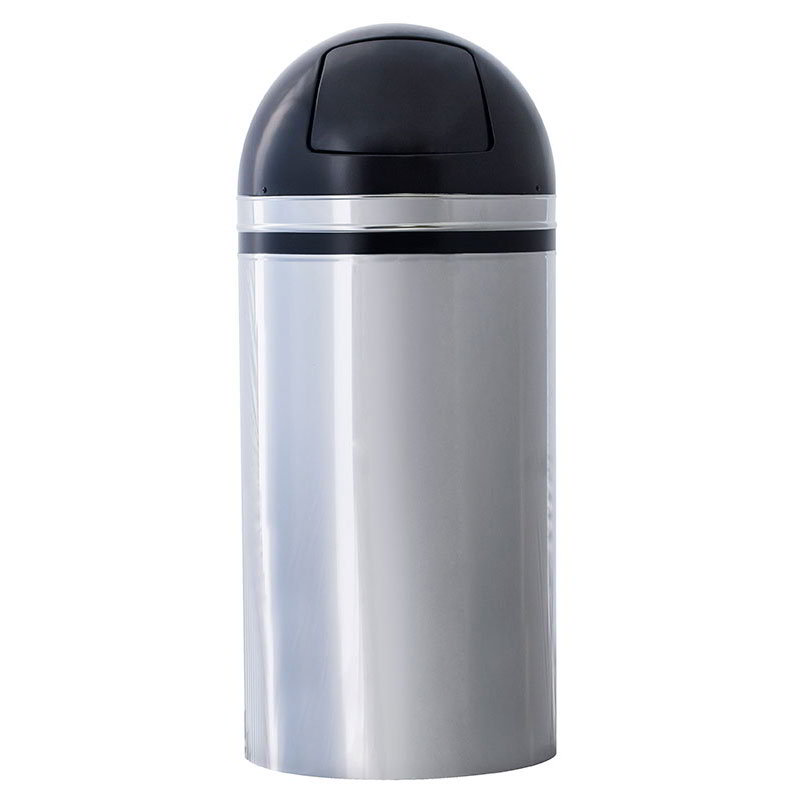 Witt Industries 15DT-44 15-Gallon Indoor Trash Can w/ Dome Top, Chrome & Black Accents