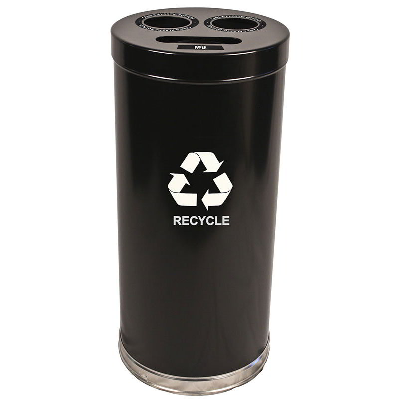 Witt 15RTBK 24-Gallon Indoor Recycling Container w/ 3-Openings, Black Finish