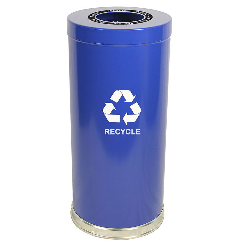 Witt 15RTBL-1H 24-Gallon Indoor Recycling Container w/ 1-Opening, Blue Finish