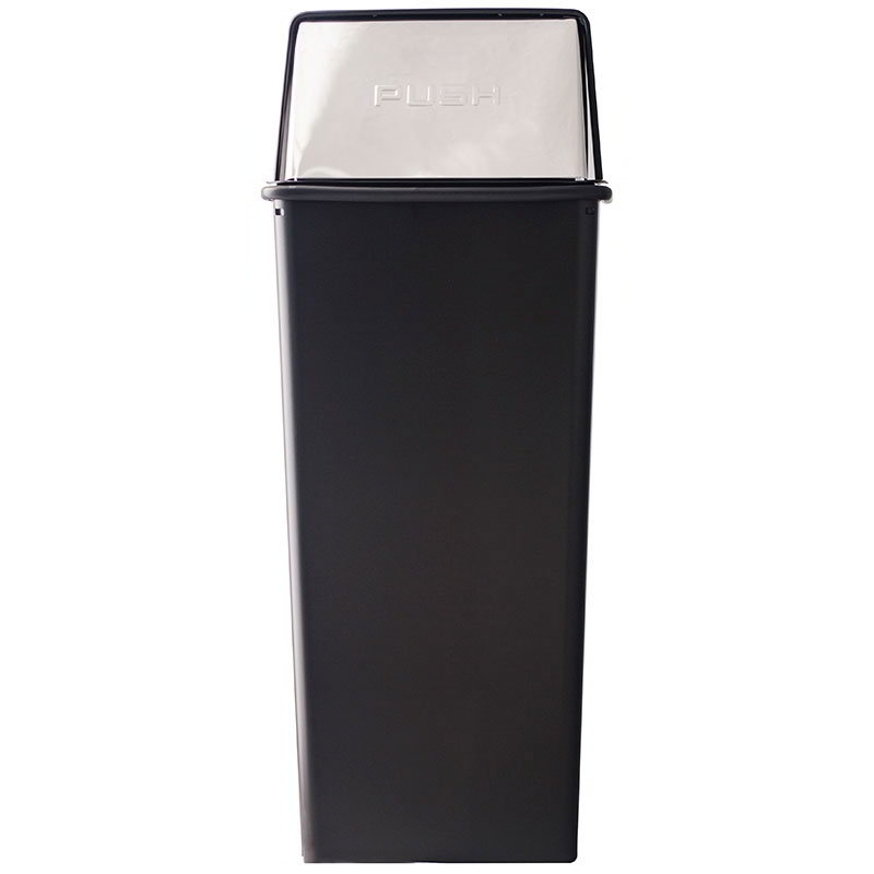 Witt Industries 21HT-22 21-Gallon Indoor Trash Can w/ Square Push Top, Black & Chrome Accent