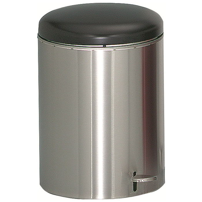 "Witt 2240SS 4-gal Round Metal Step Trash Can, 11.5"" dia. x 16""H, Stainless"