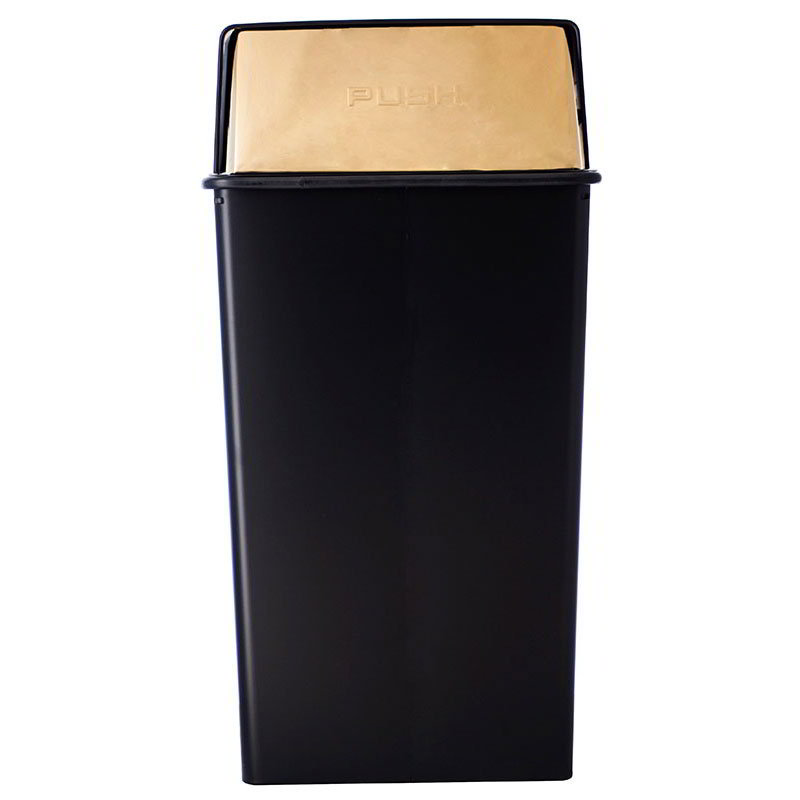 Witt 36HT-11 36-Gallon Indoor Trash Can w/ Square Push Top, Black & Brass Accent