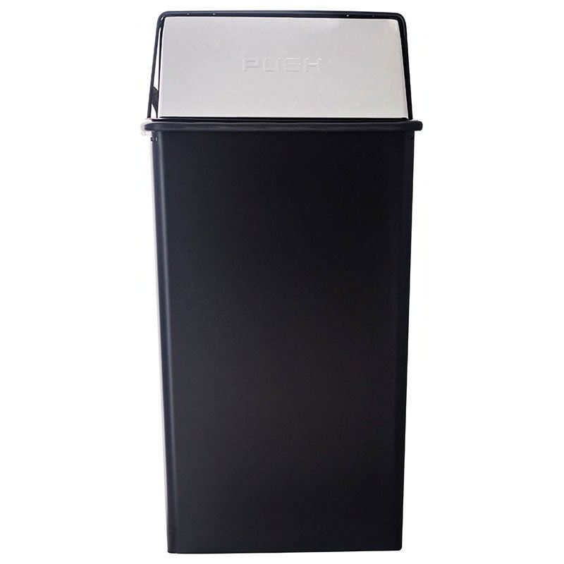 Witt 36HT-22 36-Gallon Indoor Trash Can w/ Square Push Top, Black & Chrome Accent