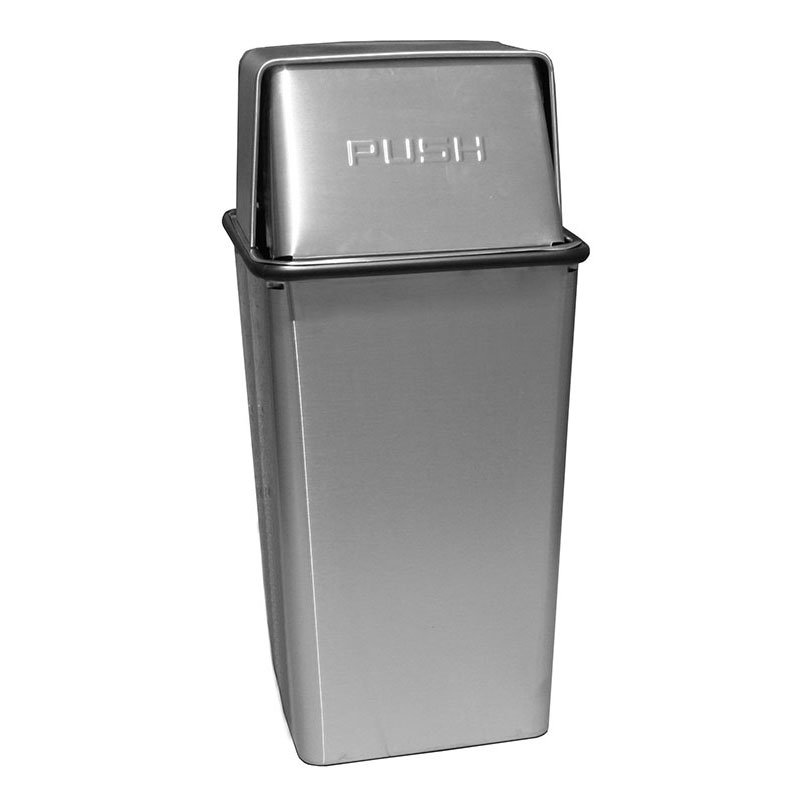 Witt 36HTSS 36-Gallon Indoor Trash Can w/ Square Push Top, Stainless Finish