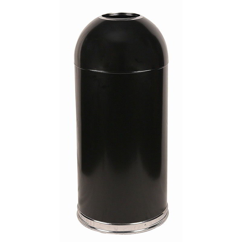 Witt 415DTBK 15-gal Indoor Decorative Trash Can - Metal, Black