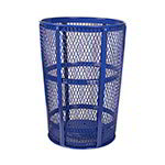 Witt Industries EXP-52BL 48-Gallon Outdoor Trash Can w/ See Through Mesh, Blue Finish