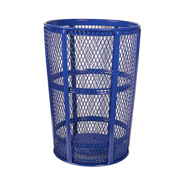Witt EXP 52BL 48 Gallon Outdoor Trash Can W/ See Through Mesh, Blue Finish