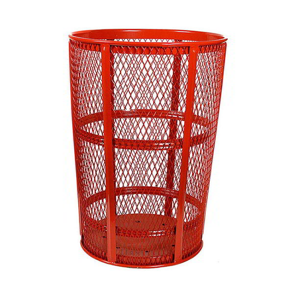 Witt EXP-52RD 48-Gallon Outdoor Trash Can w/ See Through Mesh, Red Finish
