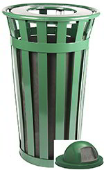 Witt M2401-DT-GN 24-Gallon Outdoor Flat Bar Trash Can w/ Dome Top Lid, Green Finish