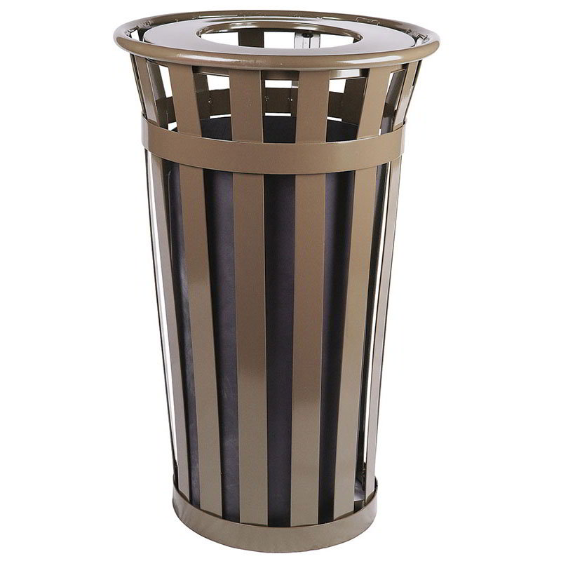 Witt M2401-FT-BN 24-Gallon Outdoor Flat Bar Trash Can w/ Flat Top Lid, Brown Finish