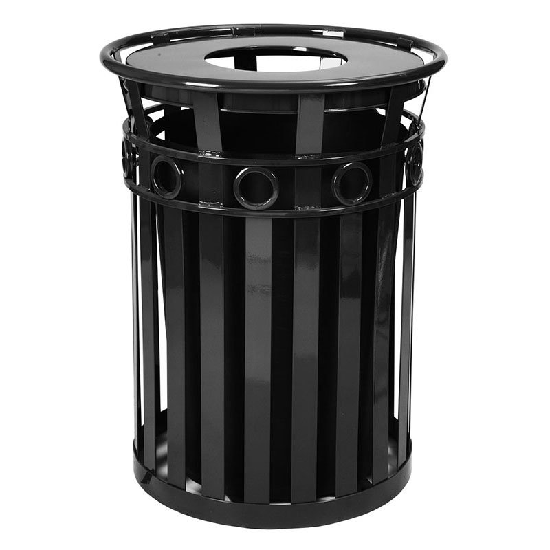 Witt M3600-R-FT-BK 40-Gallon Outdoor Flat Bar Trash Can w/ Flat Top Lid, Black