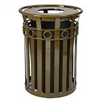 Witt M3600-R-FT-BN 40-Gallon Outdoor Flat Bar Trash Can w/ Flat Top Lid, Brown