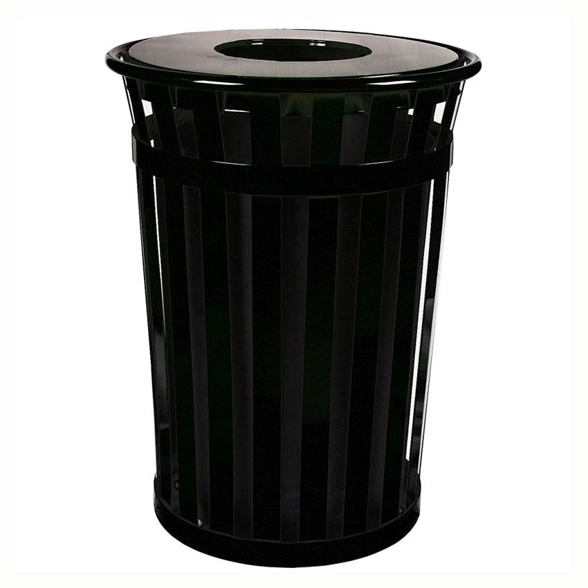 Witt M3601-FT-BK 36-Gallon Outdoor Flat Bar Trash Can w/ Flat Top Lid, Black