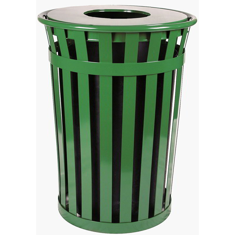 Witt M3601-FT-GN 36-Gallon Outdoor Flat Bar Trash Can w/ Flat Top Lid, Green