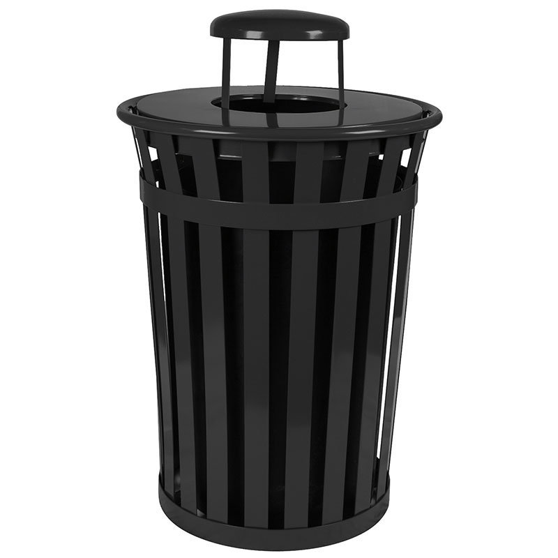 Witt M3601-RC-BK 36-Gallon Outdoor Flat Bar Trash Can w/ Rain Cap Lid, Black