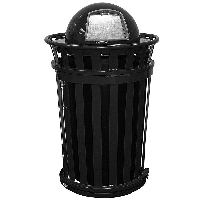 Witt Industries M3601SD-DT-BK 36-Gallon Outdoor Trash Can w/ Dome Top Lid & Sliding Door, Black
