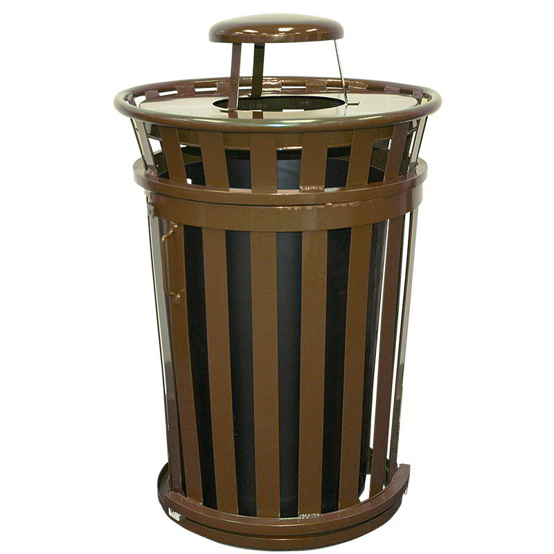 Witt M3601SD-RC-BN 36-Gallon Outdoor Trash Can w/ Rain Cap Lid & Sliding Door, Brown