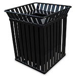 Witt M3601-SQ-FT-BK 36-Gallon Outdoor Square Trash Can w/ Anchor Kit, Black