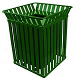 Witt Industries M3601-SQ-FT-GN 36-Gallon Outdoor Square Trash Can w/ Anchor Kit, Green