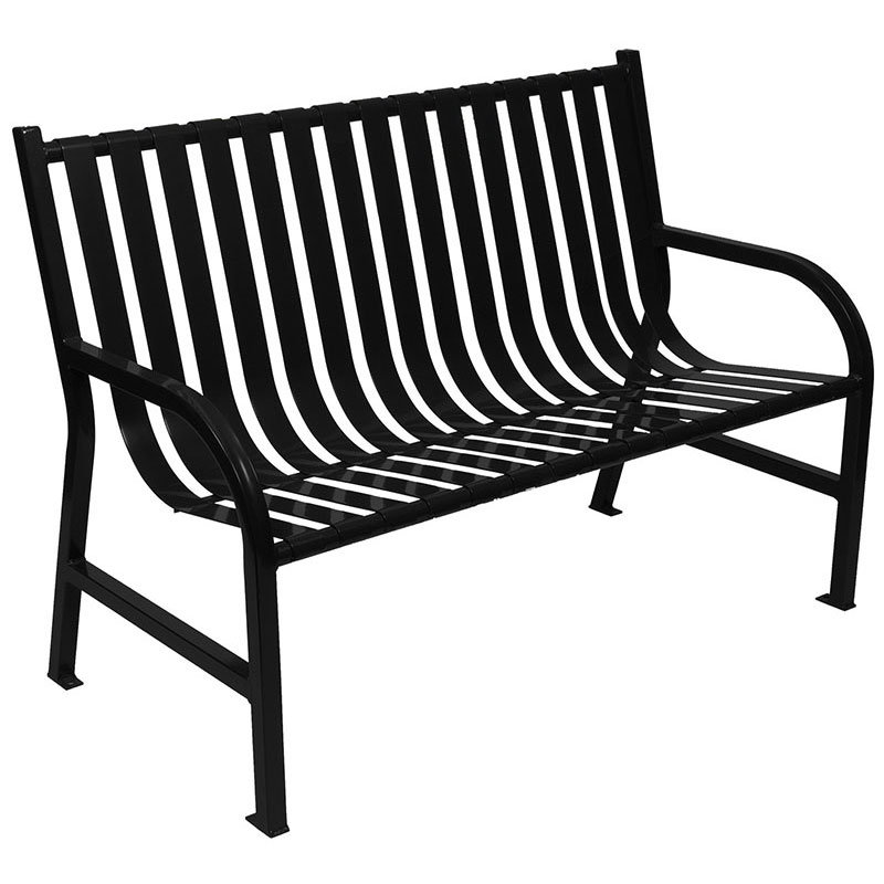 "Witt M4-BCH-BK 48"" Outdoor Slatted Flat Bar Bench w/ Anchor Kit, Black"
