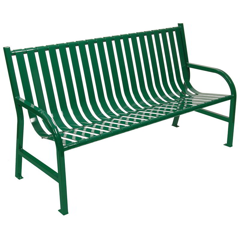 "Witt M5-BCH-GN 60"" Outdoor Slatted Flat Bar Bench w/ Anchor Kit, Green"