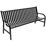 "Witt M6-BCH-BK 72"" Outdoor Slatted Flat Bar Bench w/ Anchor Kit, Black"