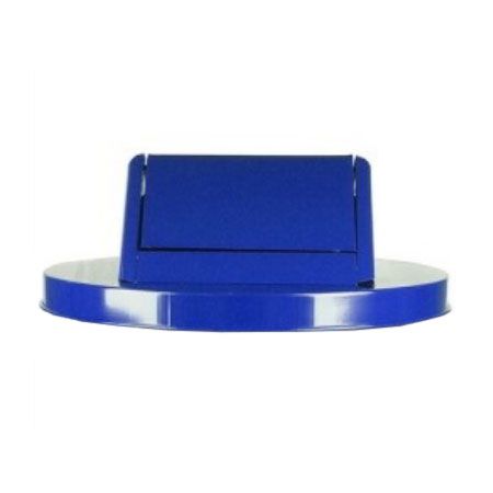 Witt SWT55BL 23.75-in Swing Top Lid For Outdoor Trash Cans, Blue Steel