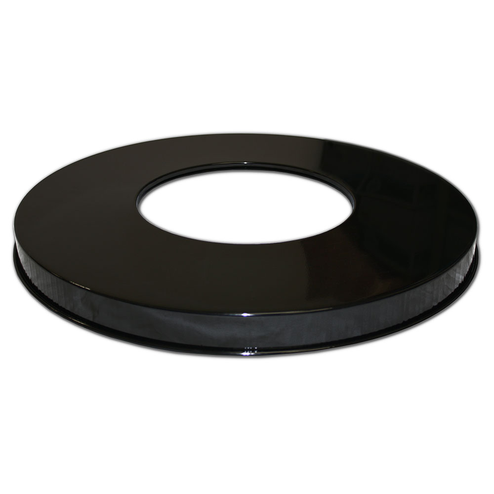 Witt WC2400-FTL-BK Round Flat Top Trash Can Lid - Plastic, Black
