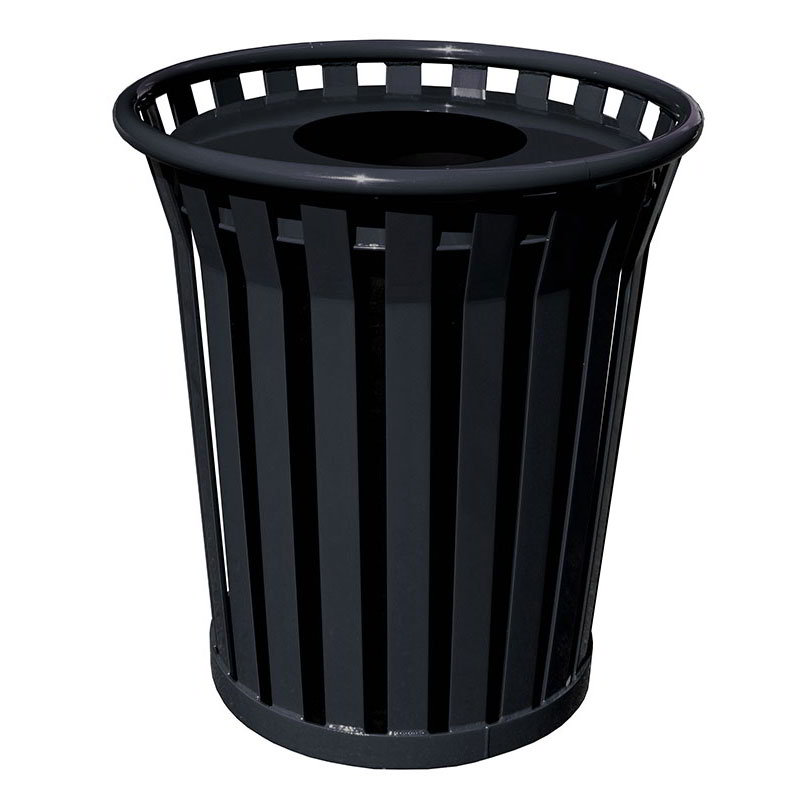 Witt WC3600-FT-BK 36-Gallon Outdoor Trash Can w/ Flat Top Lid & Anchor Kit, Black