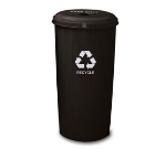 Witt Industries 10/1DTBK 20-Gallon Indoor Recycling Container w/ Circle Hole Top, Black
