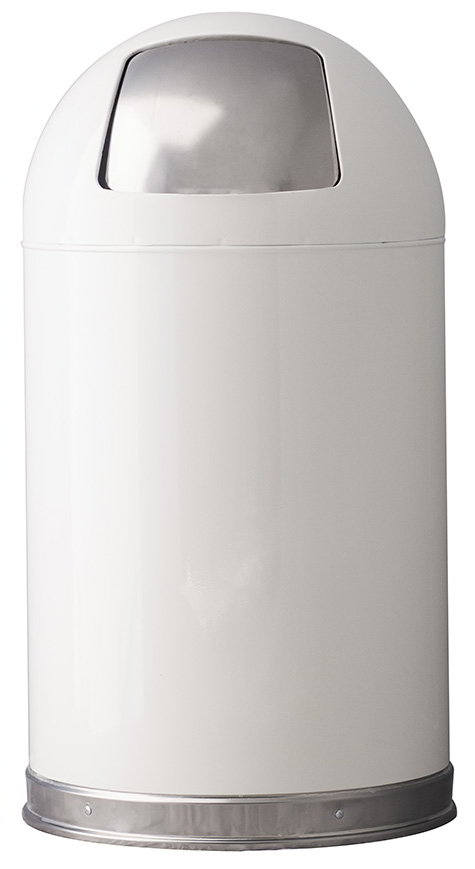 Witt 12DTWH 12-gal Indoor Decorative Trash Can - Metal, White