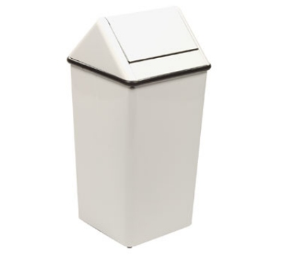 Witt Industries 1511HTWH 36-Gallon Indoor Trash Can w/ Square Hamper & Swing Top, White