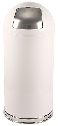 Witt Industries 15DTWH 15-Gallon Indoor Trash Can w/ Dome Top & Galvanized Liner, White
