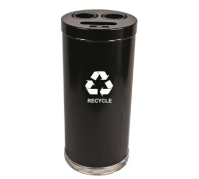 Witt Industries 15RTBK 24-Gallon Indoor Recycling Container w/ 3-Openings, Black Finish