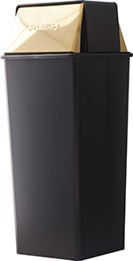 Witt Industries 21HT-11 21-Gallon Indoor Trash Can w/ Square Push Top, Black & Brass Accents