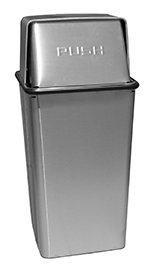Witt Industries 21HTSS 21-Gallon Indoor Trash Can w/ Square Push Top, Stainless Finish