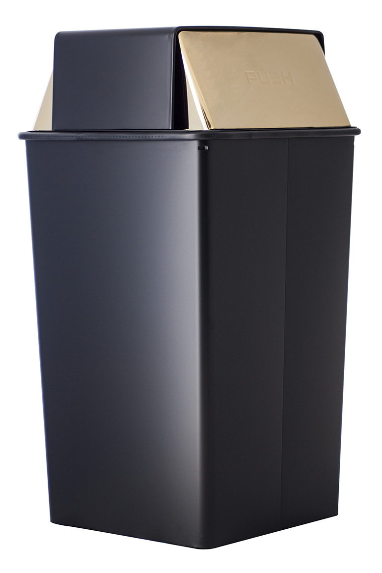 Witt Industries 36HT-11 36-Gallon Indoor Trash Can w/ Square Push Top, Black & Brass Accent