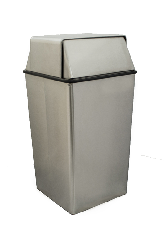 Witt Industries 36HTSS 36-Gallon Indoor Trash Can w/ Square Push Top, Stainless Finish