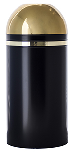 Witt Industries 415DT-11 15-Gallon Indoor Trash Can w/ Open Dome Top, Black & Brass Accents