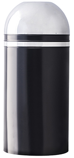 Witt Industries 415DT-22 15-Gallon Indoor Trash Can w/ Open Dome Top, Black & Chrome Accent
