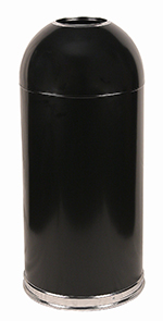 Witt Industries 415DTBK 15-Gallon Standard Indoor Trash Can w/ Dome Top Lid, Black Finish