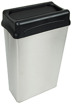 Witt Industries 70HTSS 22-Gallon Indoor Rectangular Trash Can w/ Drop Top, Stainless