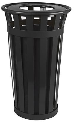 Witt Industries M2401-FT-BK 24-Gallon Outdoor Flat Bar Trash Can w/ Flat Top Lid, Black Finish