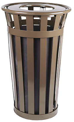 Witt Industries M2401-FT-BN 24-Gallon Outdoor Flat Bar Trash Can w/ Flat Top Lid, Brown Finish