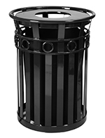 Witt Industries M3600-R-FT-BK 40-Gallon Outdoor Flat Bar Trash Can w/ Flat Top Lid, Black